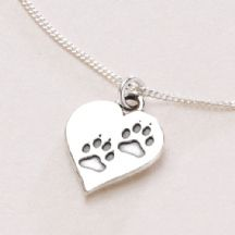 Pawprints on Your Heart Necklace, Optional Engraving.